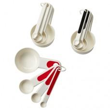طقم من 4 أكواب قياس متوفر ب 3 الوان أحمر, أبيض/أسود