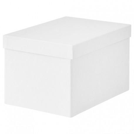 صندوق تخزين مع غطاء لون أبيض