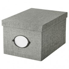 صندوق تخزين مع غطاء, رمادي 18x25x15  سم