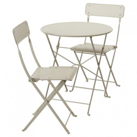 طاولة وكرسيان قابلان للطي، للأماكن الخارجية بيج