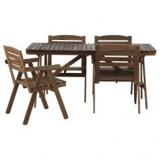 طاولة و4 كراسي للأماكن الخارجية طلاء رمادي بني