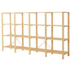 4 أقسام/رفوف, خشب لين 307x50x171 سم
