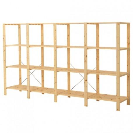 4 أقسام/رفوف خشب لين 307x50x171 سم