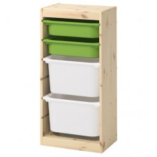 تشكيلة تخزين مع صناديق صنوبر فاتح بطلاء أبيض أخضر أبيض