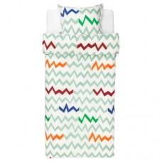 غطاء لحاف وكيس وسادة أخضر فاتح متعدد الألوان