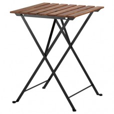 طاولة، للأماكن الخارجية سنط أسود فولاذ مطلي رمادي بني