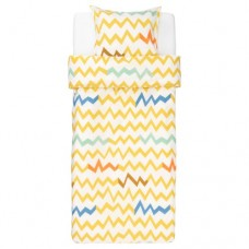 غطاء لحاف وكيس وسادة أصفر متعدد الألوان