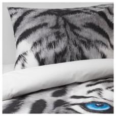 غطاء لحاف وكيس وسادة نمر رمادي