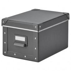 صندوق تخزين مع غطاء, رمادي غامق