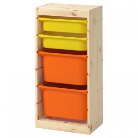 تشكيلة تخزين مع صناديق خشب صنوبر فاتح بطلاء أبيض برتقالي أصفر