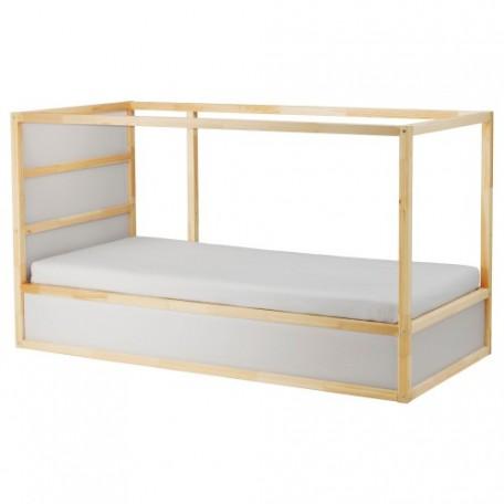 سرير قابل للانعكاس لون أبيض من صنوبر