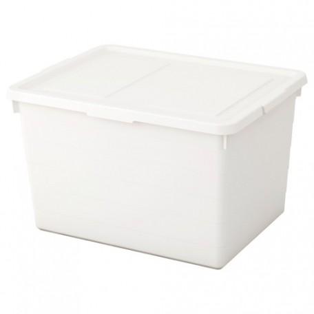 صندوق مع غطاء أبيض 38x51x30 سم
