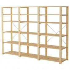 3 أقسام/رفوف, خشب لين 230x50x171 سم
