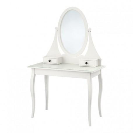 طاولة زينه مع مرآة لون أبيض