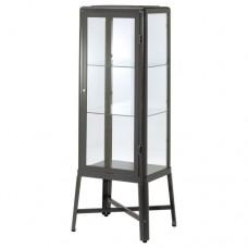 خزانة بباب زجاجي لون رمادي غامق