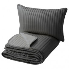 شرشف سرير وغطاء وسادة رمادي