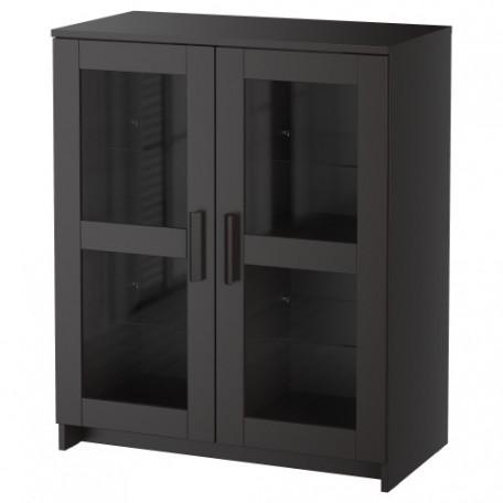 خزانة مع أبواب زجاج لون أسود