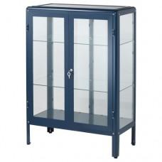 خزانة بباب زجاجي لون أسود-أزرق