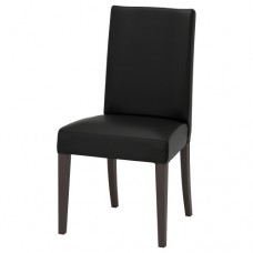 كرسي لون بني داكن- أسود (جلد ناعم)
