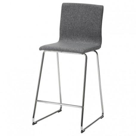 كرسي بار مطلي بالكروم رمادي متوسط 67 سم