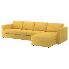 صوفا 4 مقعد بأريكة استرخاء لون ذهبي أصفر