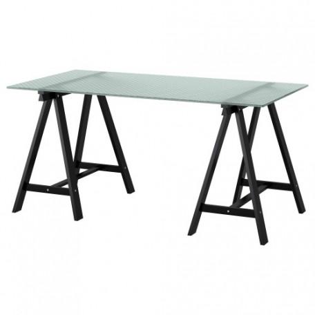 طاولة مكتب زجاج زخرفة على شكل خلية نحل أسود 148x73 سم