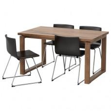 طاولة و4 كراسي بني  لون كراسي بني غامق