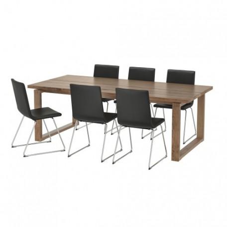 طاولة لون بني و6 كراسي لون أسود