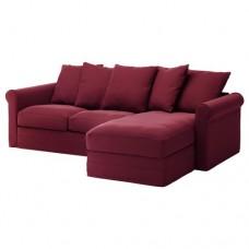 صوفا 3 مقعد, بأريكة استرخاء,أحمر داكن