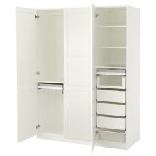 خزانة ملابس لون أبيض 3 ابواب