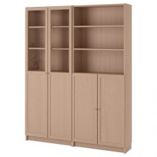 مكتبة مع أبواب/ألواح زجاج خشبي