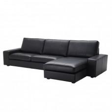صوفا 4 مقعد مع أريكة استرخاء  أسود