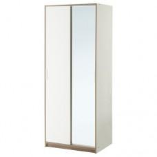 خزانة ملابس لون أبيض مرآة زجاج