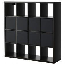 وحدة رفوف مع 8 ملحقات داخلية, أسود - بني
