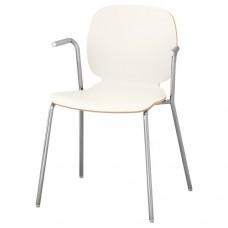 كرسي مع مسندين للذراعين لون أبيض  مطلي بالكروم