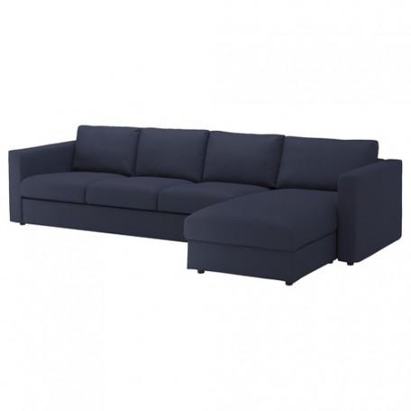 صوفا 4 مقعد بأريكة استرخاء لون أسود أزرق