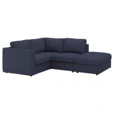 صوفا زاوية، 3 مقاعد بنهاية مفتوحة أسود أزرق