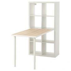 مكتب+ مكتبه  مظهر بلوط أبيض اللون, أبيض 77x147 سم