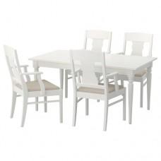 طاولة و4 كراسي, أبيض 155 سم