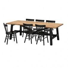 طاولة و6 كراسي, السنط, أسود