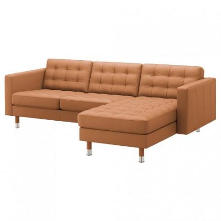 صوفا 3 مقعد لون بني ذهبي/ أرجل معدن