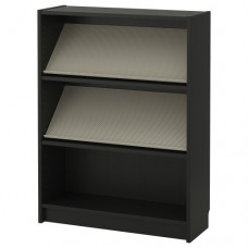 مكتبة مع رف عرض, أسود - بني, بيج 80x106x28 سم