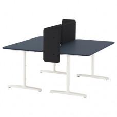 مكتب مع حاجز مشمع أزرق أبيض 160x160 55 سم