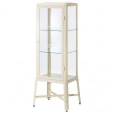 خزانة بباب زجاجي, بيج