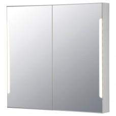 خزانة بمرآة بابين / إضاءة مدمجة, أبيض