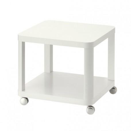 طاولة جانبية على عجلات أبيض