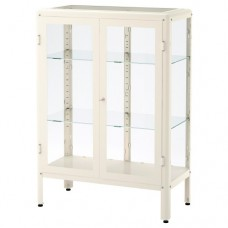 خزانة بباب زجاجي أبيض