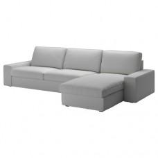 صوفا 4 مقعد,مع أريكة استرخاء, رمادي فاتح