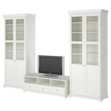تشكيلة تخزين تلفزيون, أبيض 331x214 سم
