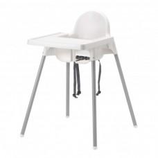 كرسي مرتفع مع صينية لون فضي أبيض, لون-فضي